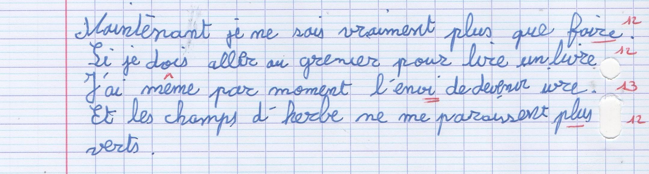 Tristan écriture après rééducation