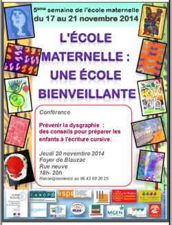 Conférence: prévenir la dysgraphie. 5ème semaine de la maternelle dans le Gard